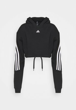CROP HOODIE  - Sweat à capuche - black/white