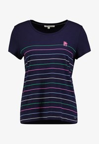 TOM TAILOR DENIM - PRINTED STRIPE SLUB TEE - T-shirt med print - navy - 5