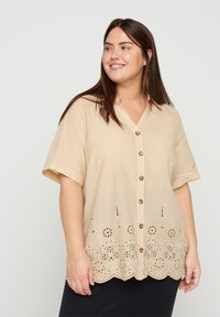 Zizzi - Button-down blouse - beige - 0