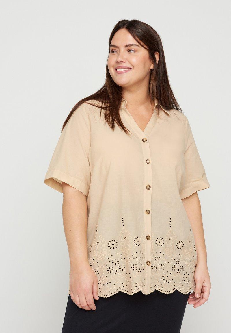 Zizzi - Button-down blouse - beige