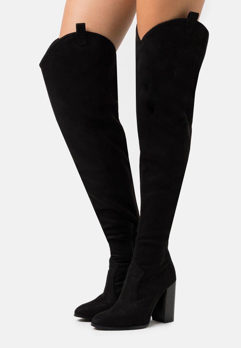 Even&Odd - Kozačky na vysokém podpatku - black