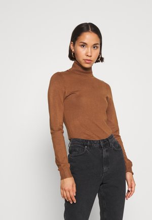 BASIC- TURTLE NECK JUMPER - Strikpullover /Striktrøjer - light brown