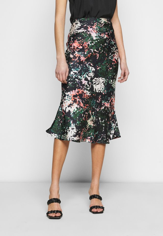 BLOOM PRINT SLIP SKIRT - Gonna a campana - navy