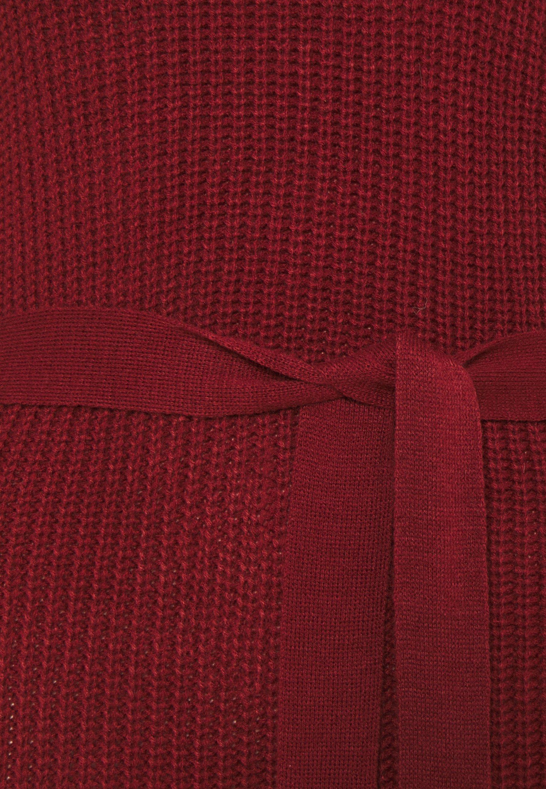 Missguided Tall High Neck Belted Maxi Dress - Strikket Kjole Burgandy/rød