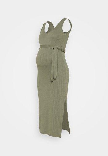 V NECK BELTED DRESS - Jerseykjole - khaki