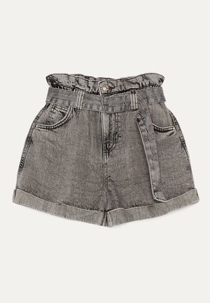 MIT GÜRTEL  - Denim shorts - light grey