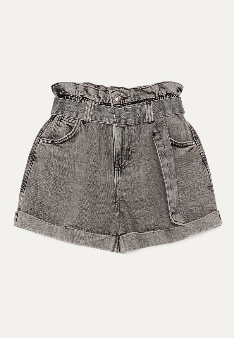 Bershka - MIT GÜRTEL  - Shorts di jeans - light grey