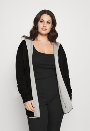 CARDIGAN DOUBLE FACE WITH HOOD - Jumper - deep black