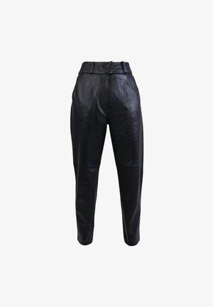 PALAMITA - Leather trousers - black