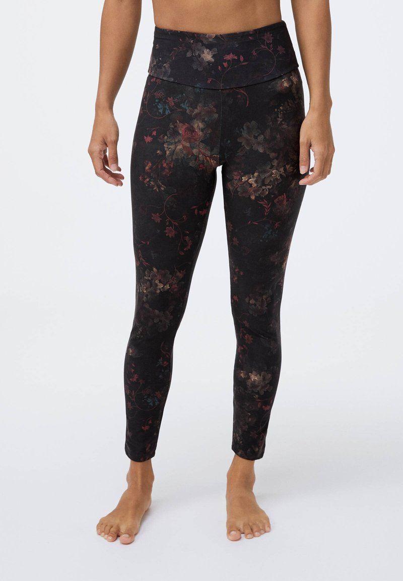 OYSHO - COMPRESSION  WITH WINTER FLORAL PRINT  - Leggings - black