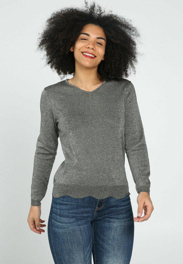 MIT GLITZEREFFEKT UND BOGENKANTE - Pullover - khaki