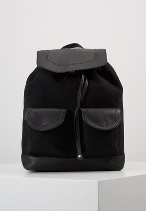 LEATHER/COTTON - Tagesrucksack - black