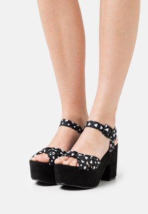 WIDE FIT RENNES - Platform sandals - black