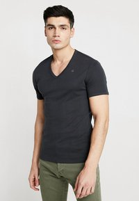 G-Star - BASE V-NECK T S/S 2-PACK - Basic T-shirt - pedal grey - 1
