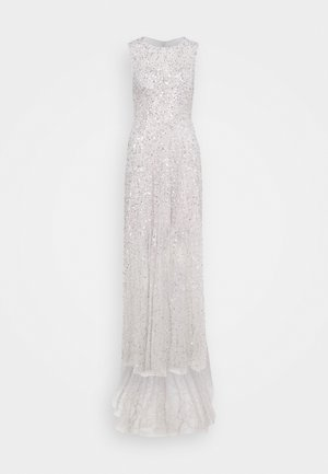 ALL OVER EMBELLISHED MAXI DRESS WITH TRAIN - Galajurk - soft grey