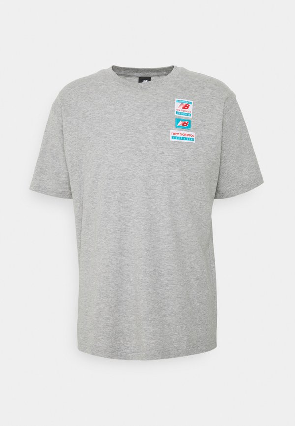 New Balance ESSENTIALS TAG TEE - T-shirt basic - athletic grey/szary melanż Odzież Męska BNIC