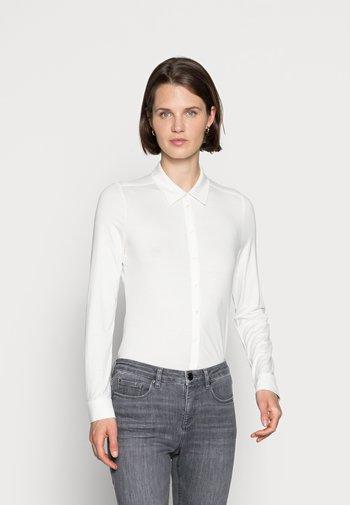 BLOUSE LONG SLEEVE COLLAR BUTTON PLACKET - Button-down blouse - white sand