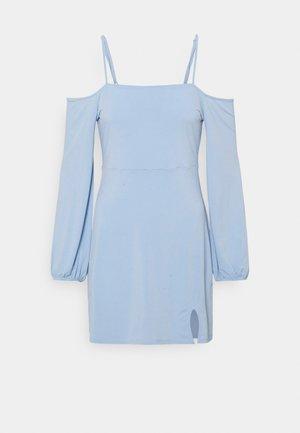 PAMELA REIF OFF SHOULDER MINI DRESS - Jerseykjole - dusty blue