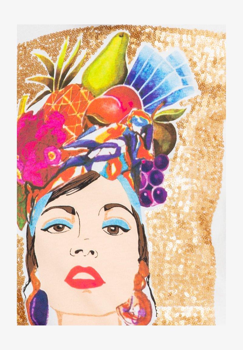 Camaieu Visage Et Fruits T Shirt Imprime Craie Ecru Zalando Fr