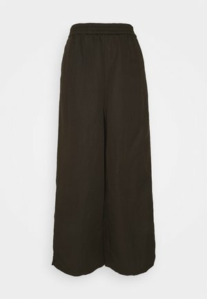 WIDE LEG PANTS ELASTIC WAISTBAND - Trousers - khaki
