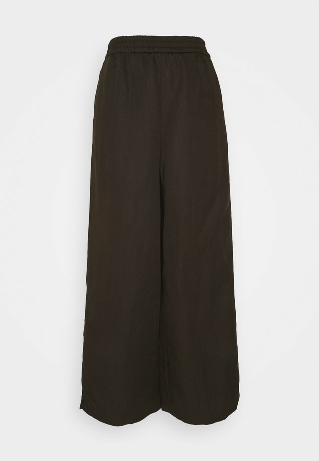 WIDE LEG PANTS ELASTIC WAISTBAND - Broek - khaki