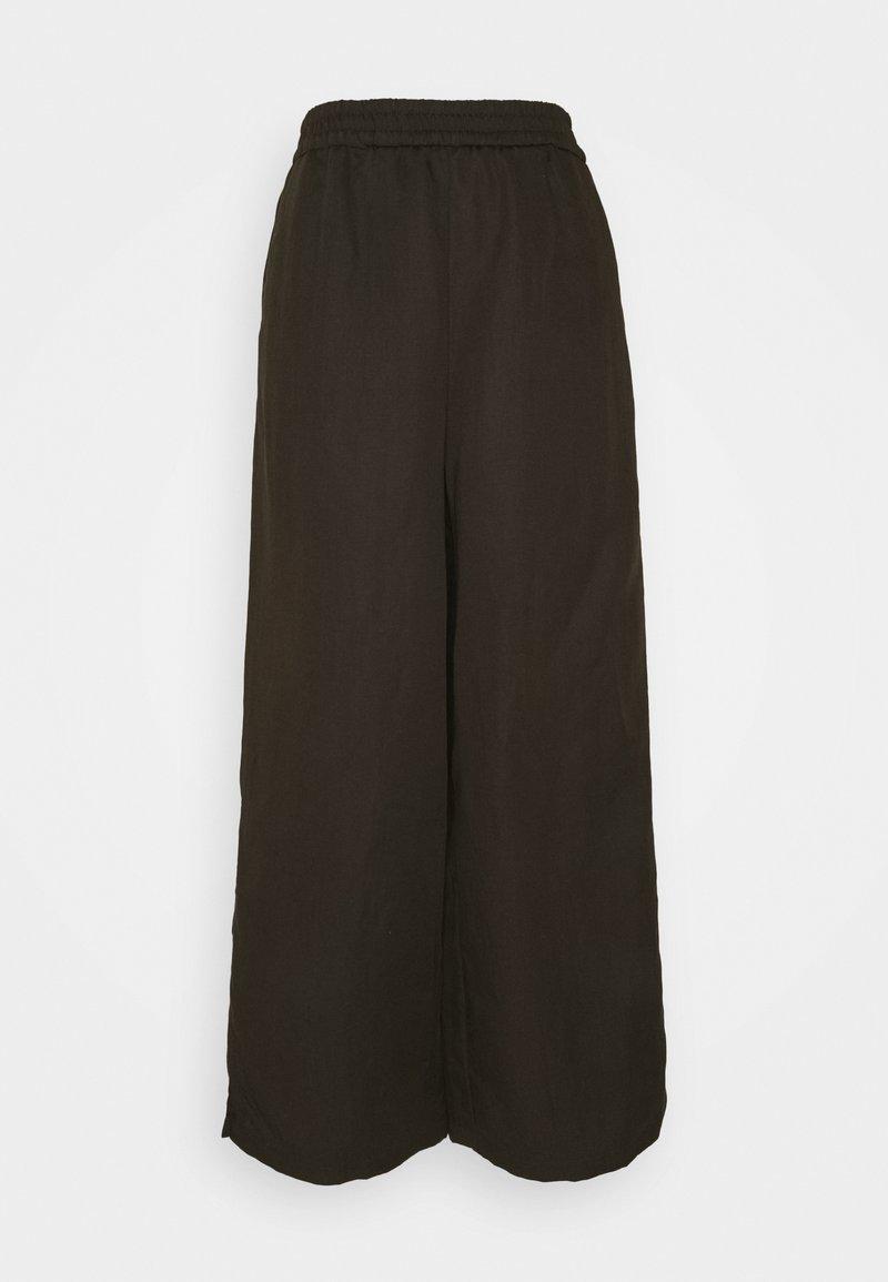 Marc O'Polo PURE - WIDE LEG PANTS ELASTIC WAISTBAND - Trousers - khaki