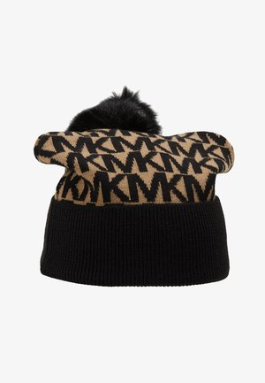 ALLOVER POM BEANIE - Czapka - dark camel/black