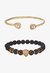 Burton Menswear London - LION BANGLE AND BEADS - Armband - gold-coloured/black - 3