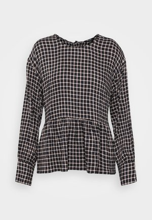 PEPLUM BUTTON BACK PLAID - Blouse - black