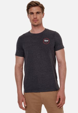 Basic T-shirt - dunkelgrau-weiß