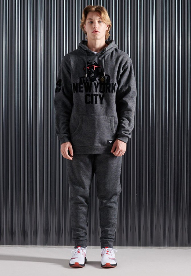 Superdry - MONO URBAN - Tracksuit bottoms - twisted black grit
