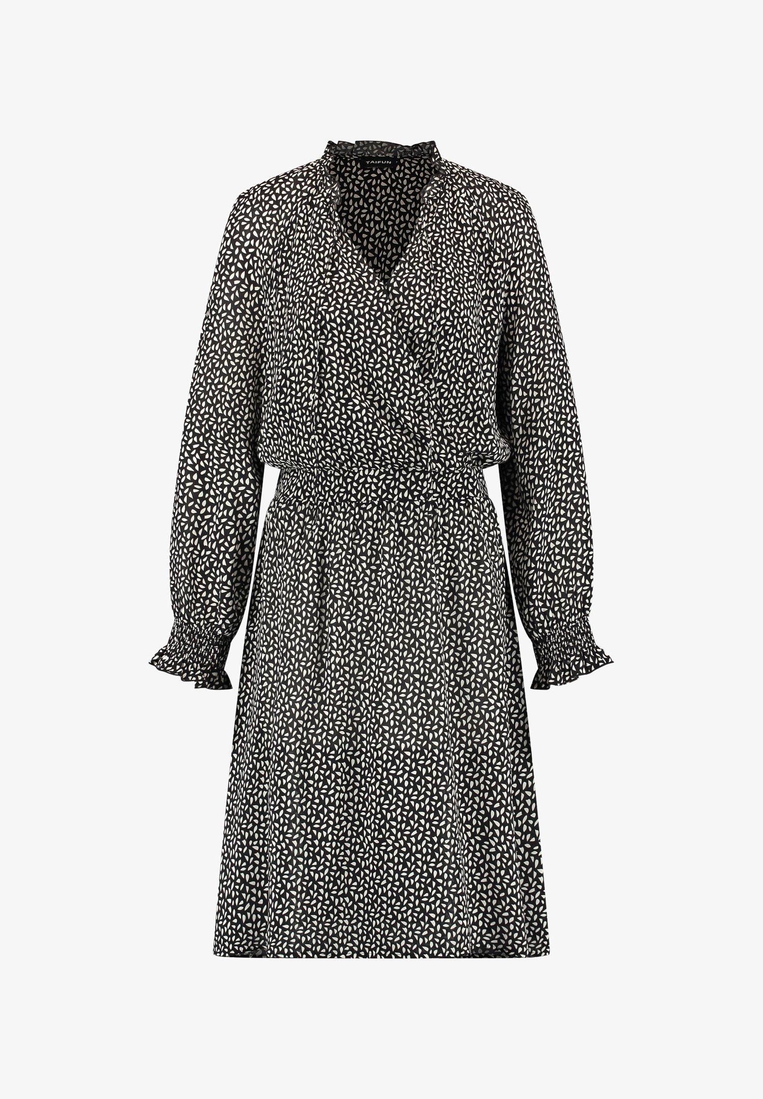 Taifun Kleid Langarm Kurz Kleid Mit Wickel Ausschnitt Freizeitkleid Black Gemustert Zalando At