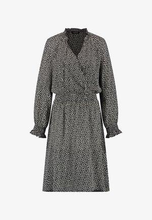 KLEID LANGARM KURZ KLEID MIT WICKEL-AUSSCHNITT - Day dress - black gemustert