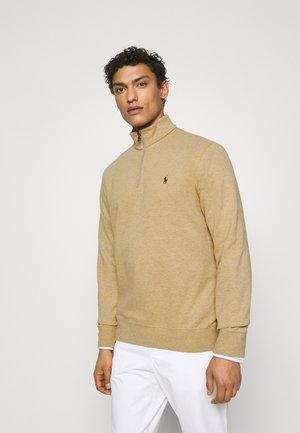 JERSEY QUARTER-ZIP PULLOVER - Sweatshirt - luxury tan heather