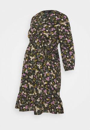 FLORAL FRILL WRAP MINI - Day dress - black pattern