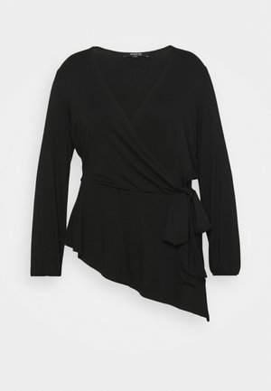 TIE SIDE BALLOON SLEEVE  - Long sleeved top - black