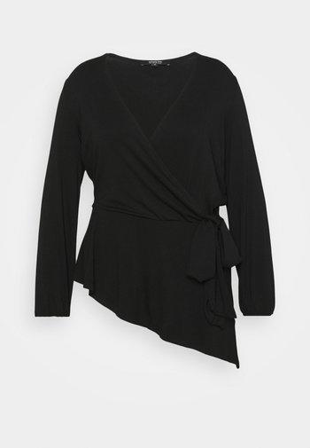 TIE SIDE BALLOON SLEEVE  - Long sleeved top - black
