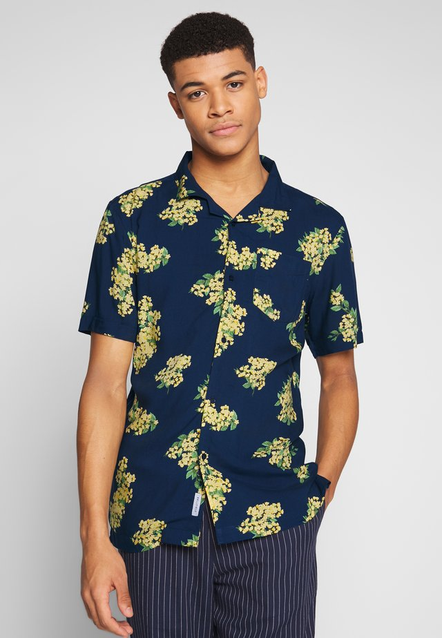 CUBAN COLLAR FLORAL PRINTED - Shirt - navy
