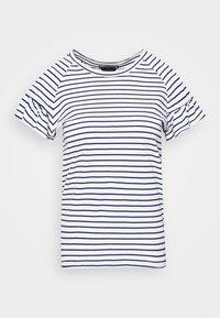 TEE WITH SMOCKED SHORT SLEEVES - Print T-shirt - white/dark blue