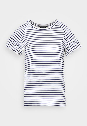 TEE WITH SMOCKED SHORT SLEEVES - T-shirts med print - white/dark blue