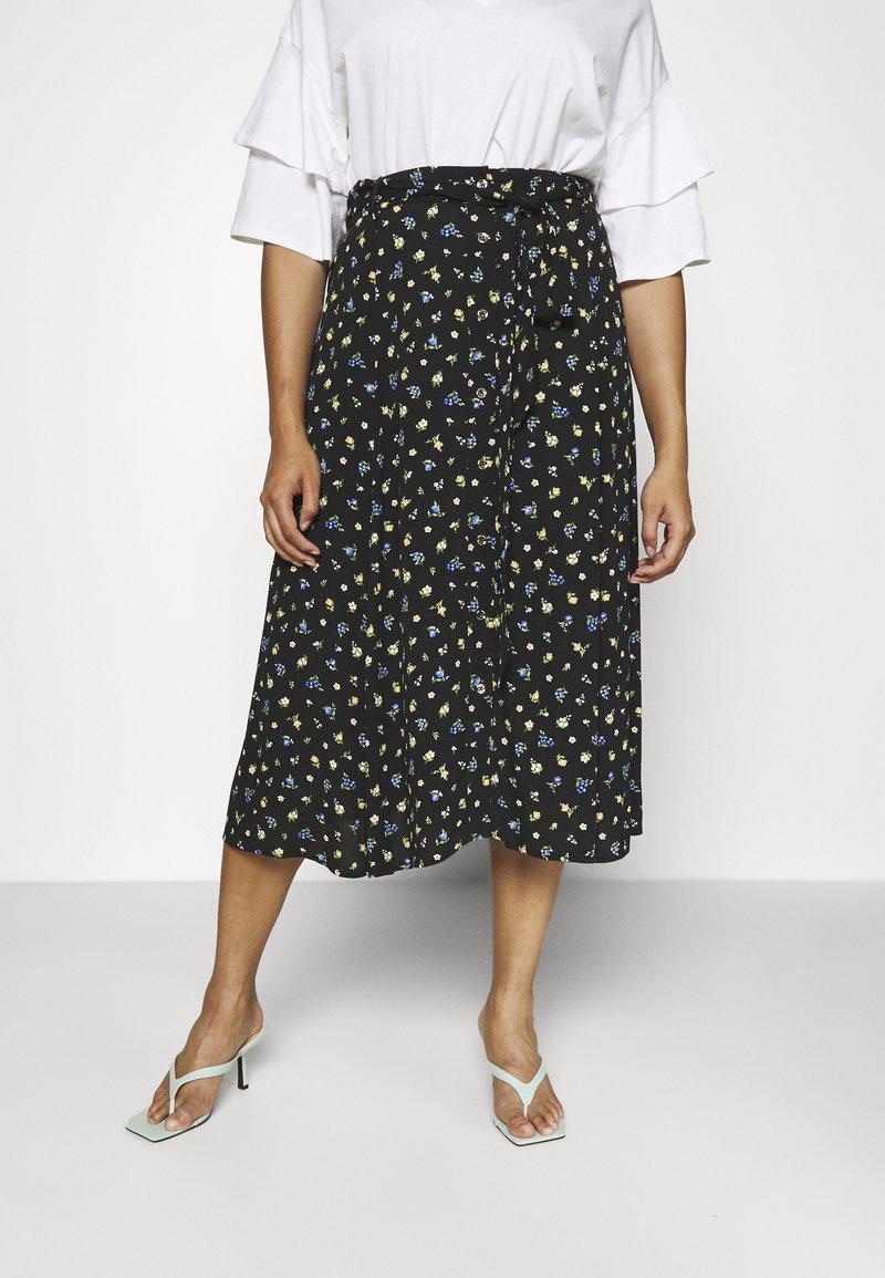 Forever New Curve - AINSLEY BUTTON THROUGH MIDI SKIRT - A-line skirt - black