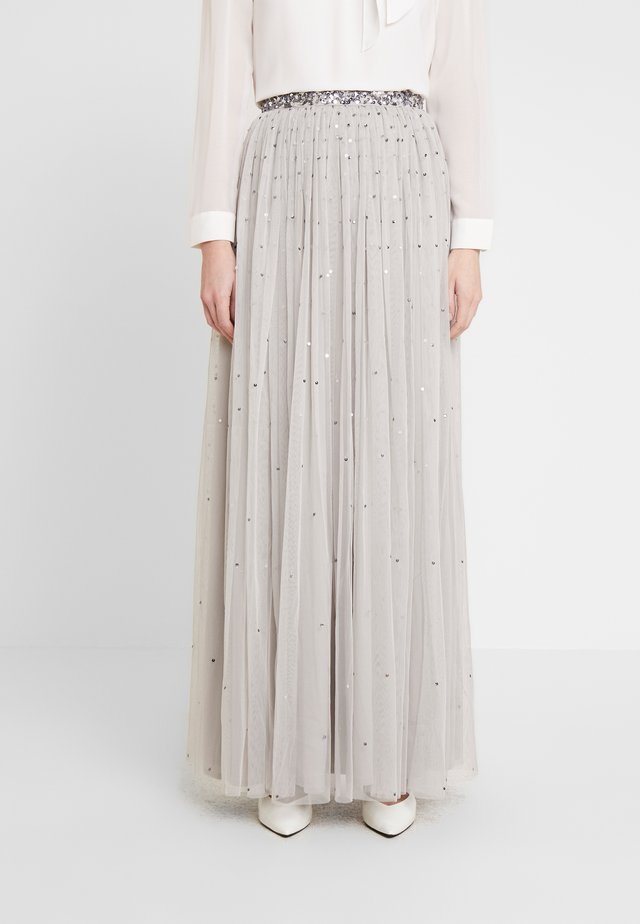 SCATTER SEQUIN SKIRT WITH EMBELLISHED WAISTBAND - Maxi skirt - grey