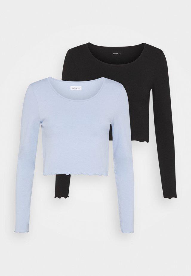 2 PACK - Long sleeved top - black/blue