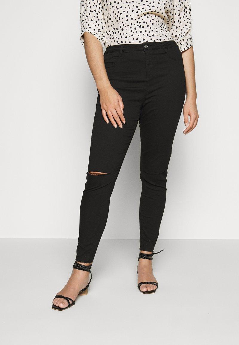 Missguided Plus - LAWLESS SLASH KNEE HIGHWAISTED SUPERSOFT - Jeans Skinny Fit - black