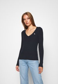 Abercrombie & Fitch - ICON CABLE VNECK - Jumper - navy - 0