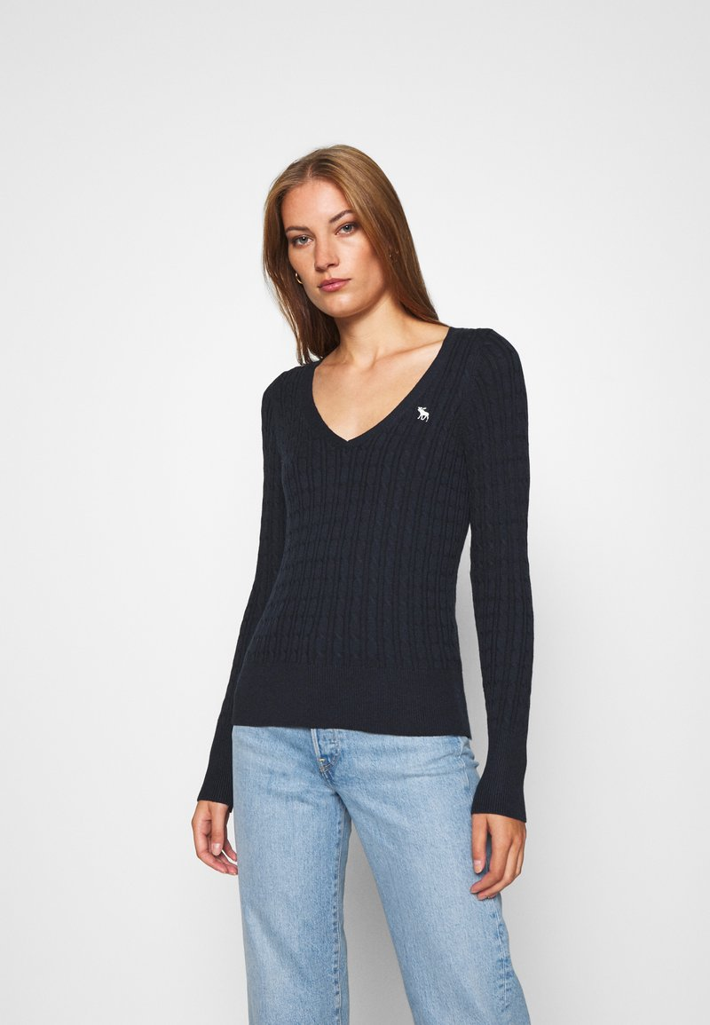 Abercrombie & Fitch - ICON CABLE VNECK - Jumper - navy