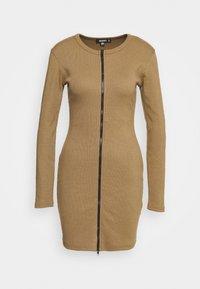 CONTRAST ZIP MINI DRESS - Jumper dress - khaki