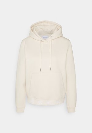 LOGO TRIM HOODIE - Sweat à capuche - soft cream