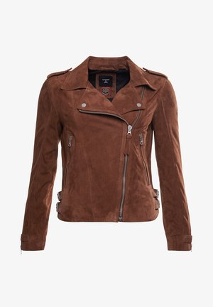 Leather jacket - tobacco suede