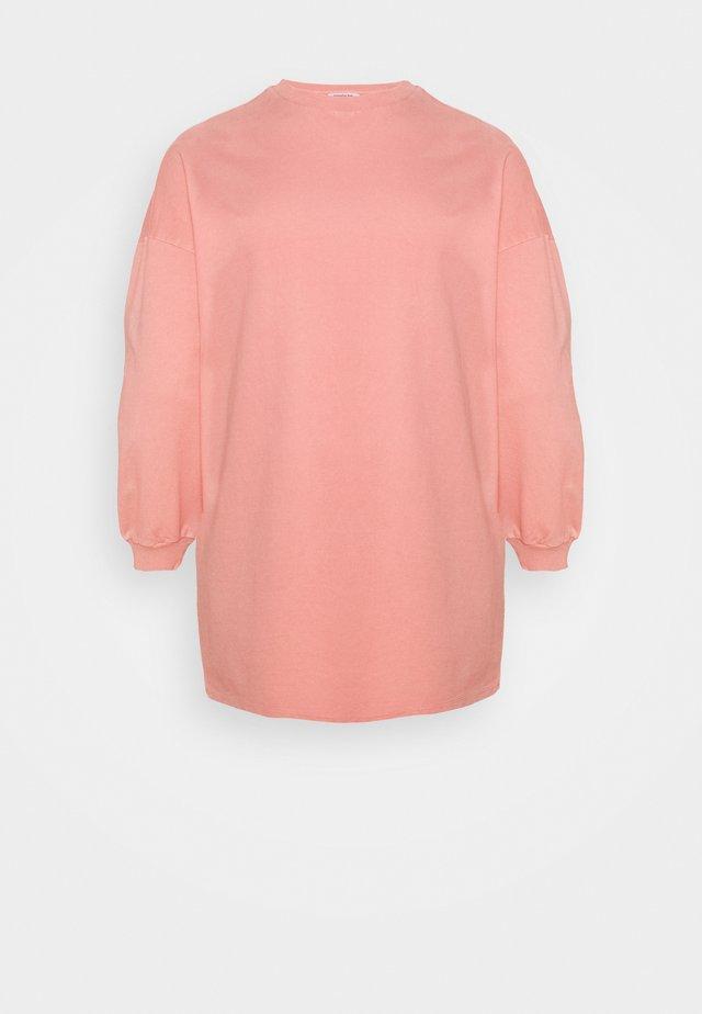 ACID WASH BALLON SLEEVE DRESS - Robe d'été - pink